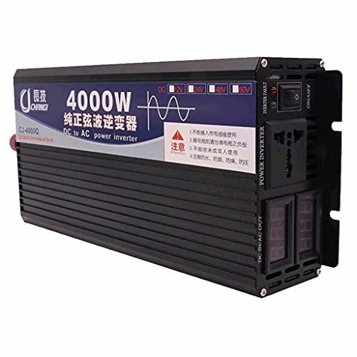 SJZD Inversor de Onda sinusoidal Pura, 12V / 24V / 48V / 60V / 72V ~ 220V, Transformador convertidor 1000W / 2000W / 3000W / 4000W, Pantalla LCD Dual, 24V-4000W