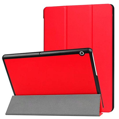 XINDA HUAWEI MediaPad T3 8.0 Case - Ultra Slim Lightweight Smart Shell Stand Cover Case for HUAWEI MediaPad T3 8.0 Inch Tablet 2017 Release, (red)