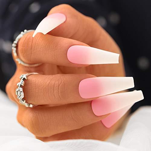 Sethexy Matt Ballerina Falscher Nagel Lange Sarg Gradient Falsche Fingernägel Rosa 24St Acryl Kunst Drücken Sie auf Nagelspitzen für Frauen und Mädchen