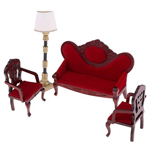 chiwanji Retro 1:12 Casa de Muñecas Muebles en Miniatura Sofá Sofá Silla Y Lámpara de Pie Luz