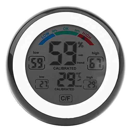 VIFERR Digital Thermometer Hygrometer Wireless Indoor Kreative Elektronische Temperatur- und Feuchtigkeitsüberwachung LCD Round Black