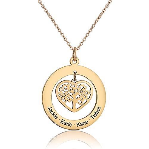 kaululu Collar Mujer Corazón Personalizado 1-4 Familia BFF árbol de la Vida Nombre Acero Inoxidable Colgante Nombre Graver Regalo Aniversario Joyería Personalizada Oro