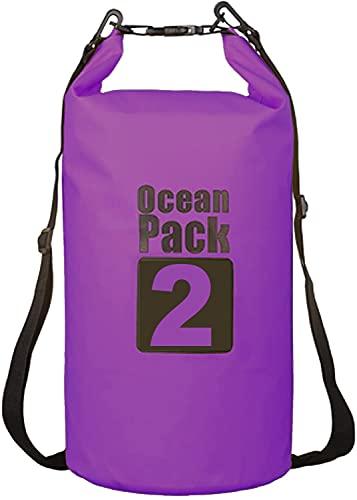 Ducomi Bolsa impermeable para la playa – Bolsa estanca para kayak, canoa, barco, piscina, playa y pesca, móvil y accesorios secos – Perfecta para viajes submarinos, Surf y Trekking (púrpura, 2 L)