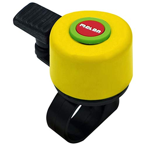 Melon Bellino Mini Bell Fahrrad Klingel 35mm Bell Design Laut Lenker Befestigung 22,2mm, MBE, Design Rainbow Gelb