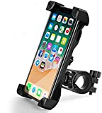 QMEET Bike Phone Mount 360°Rotation,Universal Motorcycle Handlebar Mount Bicycle Phone Holder for iPhone 12,12 Pro Max,11,11 Pro Max,S9,S10 and More 3.5'-6.8' Cellphone(Black)