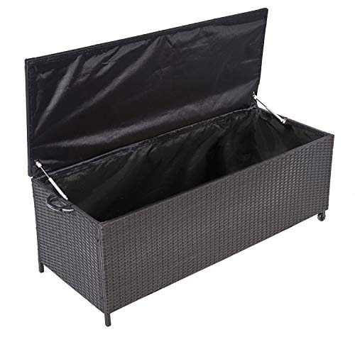 JOM Auflagenbox Alu Rattan Universal 150x58x50 cm Gartenbox Kissenbox Gartentruhe wetterfestes Aluminiumgestell mit Gasdruckstoßdämpfer Wasserdicht Rollbar