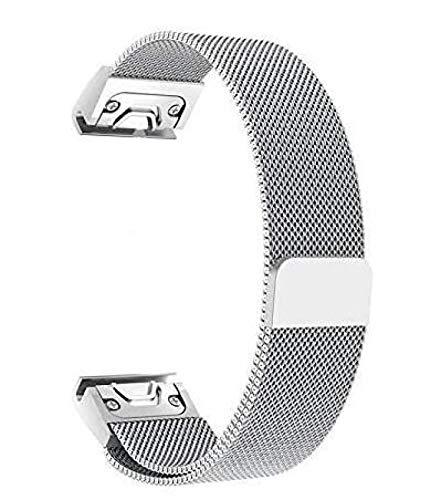 Uhrenarmband Verstellbares Edelstahlnetz Ersatz Uhrenarmband Atmungsaktiv und Wasserdicht Schnellverschluss Magnetisches Öffnen und Schließen,Silver-20mm