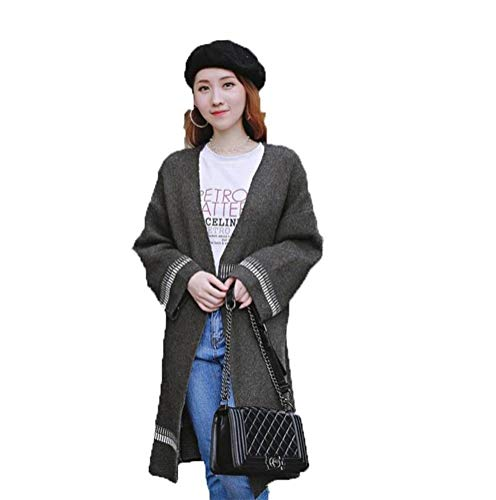 Damestrui en trui voor dames in de kleur Autunnal en winter, gevoerd met de opklapbare mantel van gebreide trui voor dames, lange mouwen, Koreaans Eén maat Grijs