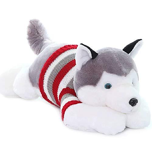Poooc Stile del fumetto creativo Husky peluche Pug Dog giocattolo cuscino di sonno Doll Cute Puppy Ragdoll Doll Girl cuscino di sonno Cuscino Cucciolo for il presente ragazze festa di compleanno di Na