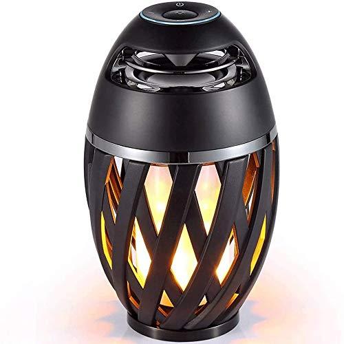 XWX Lámpara de Mesa de Llama LED, atmósfera de antorcha Altavoces Bluetooth Altavoz estéreo portátil al Aire Libre con Audio HD y bajo Mejorado