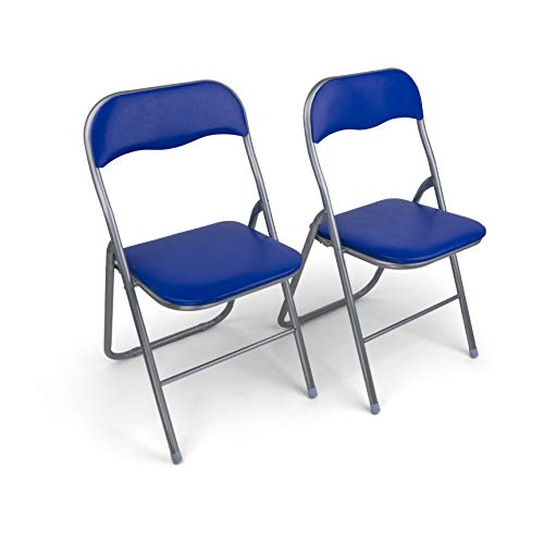HAEST Set: 2X Klappstühle mit Metallrahmen und Kunstlederbezug, Silber-blau
