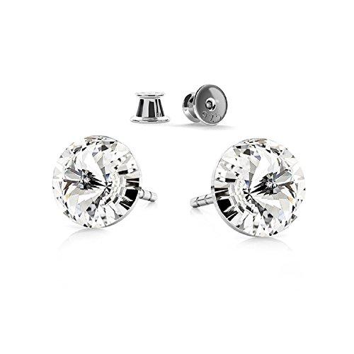 Crystals & Stones - Orecchini da uomo in argento Sterling 925 con cristalli con elementi Swarovski, modelo Rivoli, color cristallo, con una meravigliosa confezione regalo, GWT/8PIN/75