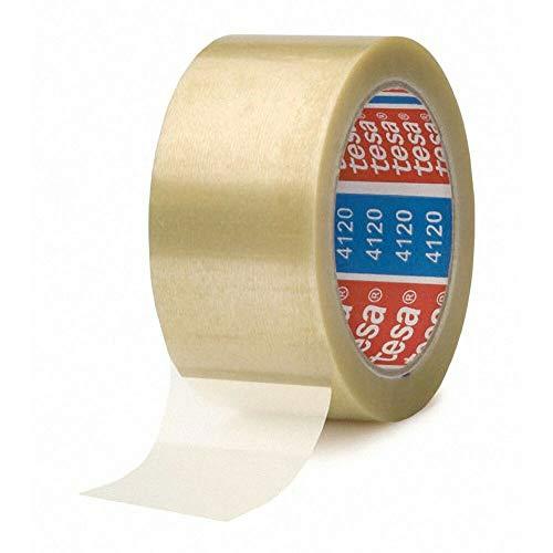 TESA Klebeband tesapack 4120, PVC, 50mm x 66m, transparent/Stabiles PVC Band für mittelschwere Belastung, 36 Stück
