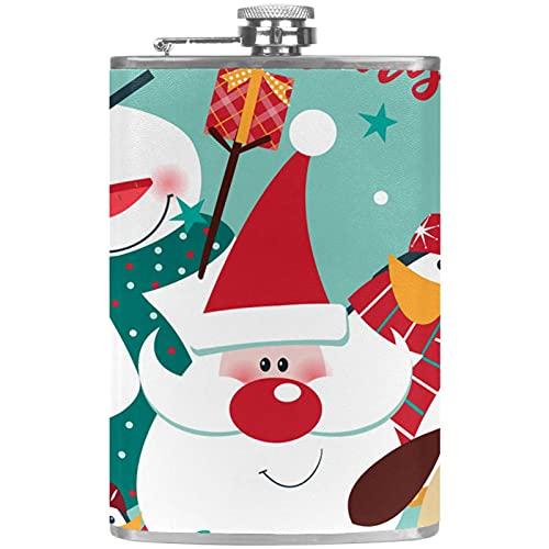 Petaca pequea para licor y embudo de acero inoxidable, a prueba de fugas, para vino, whisky, ron y vodka Merry Christmas Cute Santa & Snowman