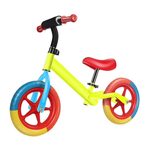 Fy-Light Balance Bike for Toddlers, 12' Walking Balance Bike Carbon Steel Frame No Pedal, Inflation-free Tyres Adjustable Seat for Ages 2- to 6 Years (Yellow)