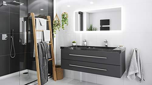 Mueble de baño granito Galaxy Black Damo 130cm 2 agujero Antracita y espejo
