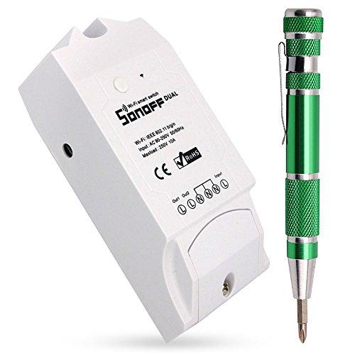 Dual Wifi 2-Kanälen Smart Switch Schalter, Drahtlos Wlan Intelligentes Zuhause Fernbedienung Zeitschaltuhr Steuerung Über APP (Kompatibel mit Google Alexa) + 9-in-1 Schraubenzieher Set