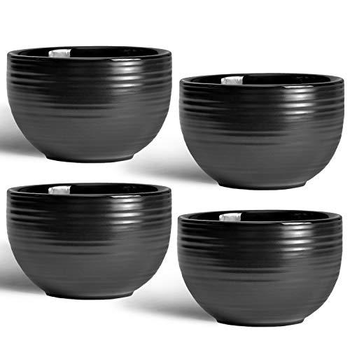 """MELOX 4er Set Cappucchinotassen """"tornado-design""""   4x 200ml Tassenset in schwarz, grau   dickwandiges Porzellan (schwarz)"""