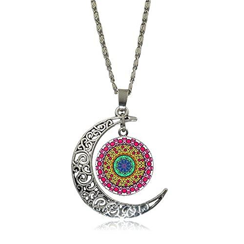 Mandala Flower Jewelry Con Cabujón De Cristal Chapado En Plata, Gargantilla De Luna, Collar Con Colgante Largo Para Hombres Y Mujeres, Longitud: 50 Cm