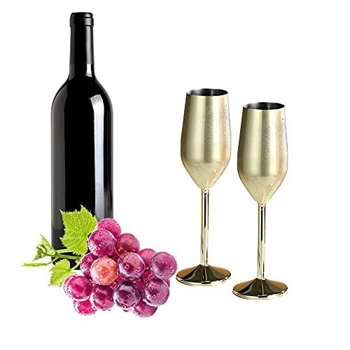 Bicchiere da Champagne in Acciaio Inossidabile 220ML Bicchiere da Vino Flute da Champagne...