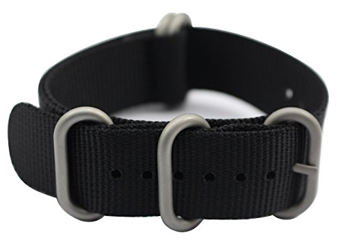 ArtStyle Watch Band with 1.5mm Thickness Quality Nylon Strap and Heavy Duty Brushed Buckle (Black, 24mm)