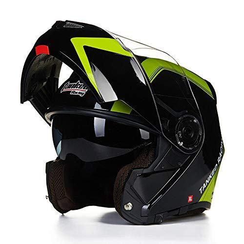 Stella Fella Casco de motocicleta para hombre, doble lente completa, casco de cara abierta, casco eléctrico de motocicleta, negro/verde, patrón (tamaño: M)