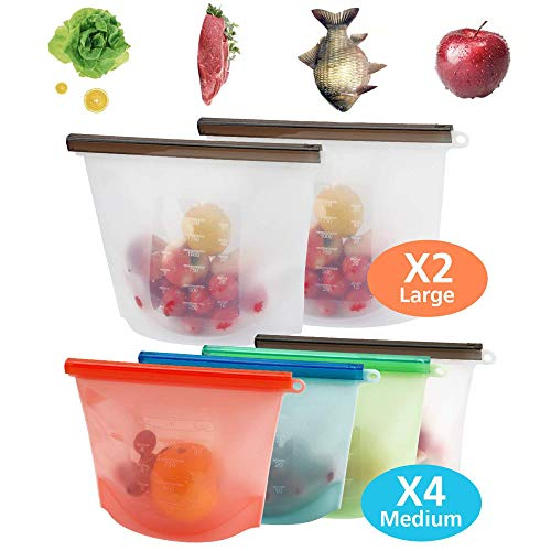 Silicone reusable storage food bags (Set of 6 Pack) 2 Large + 4 Medium size vacuum Airtight Seal Preservation BPA Free for lunch cooking Liquid freezing snack with zipper leakproof Safe Dishwasher