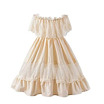 Fioukiay Toddler Girl-Wedding-Princess-Maxi-Dress Boho Off Shoulder Lace Ruffle Dress Gowns Holiday Dresses  Off White/Beige 6/7T
