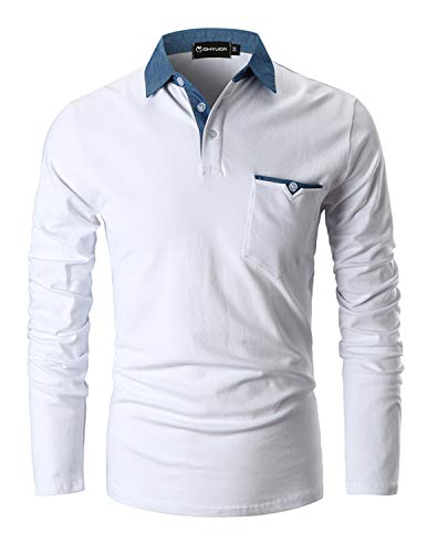 GHYUGR Polo para Hombre Mangas Largas Denim Costura Camisas Algod¨®n Slim Fit Camiseta Golf Poloshirt T-Shirt Oficina BOT¨®n Cuello,Blanco,S
