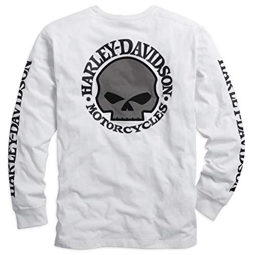 Harley Davidson® Men's Skull Long Sleeve Tee, White - 99092-14VM (XL)