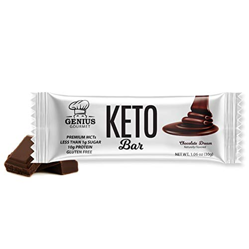 Genius Gourmet Gluten Free Keto Protein Bars - Keto Friendly Low Carb Low Sugar Snack - Natural Ketogenic Chocolate Peanut Butter - 5 Count