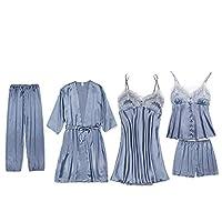 女性のパジャマは胸パッド付きのセクシーなレースのパジャマを着用し、夏の女性のアイスシルクのパジャマは5ピース、通気性、快適、 XXL B