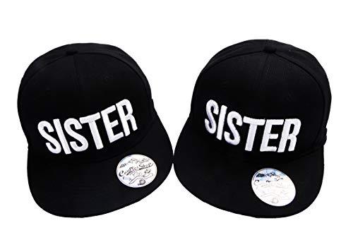 Best Friends Cap Sister Snapback Set mit Rose Logo Beste Freunde Baseball Hüte Mützen Kappe für Zwei Madchen Damen (Schwarz)