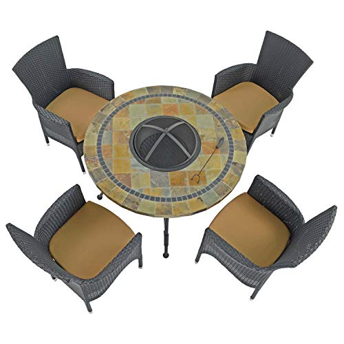 Byron MANOR COLORADO Fire Pit Table with 4 STOCKHOLM Black Chairs, Natural Stone Blend