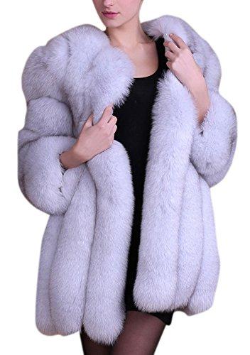 Women's Winter Thick Outerwear Warm Long Fox Faux Fur Coat (US 18-20, grey)