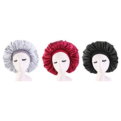Minkissy 3Pcs Bonnet de Sommeil en Satin Bonnet de Nuit Doux Grand Bonnet de Sommeil Chapeau de Sommeil de Nuit pour Une Utilisation de Voyage de Salon à Domicile (Noir Vin Rouge Argent)