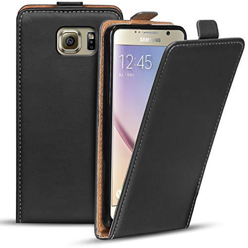Verco Flip Cover für Samsung Galaxy S6 Case, Flipstyle Schutzhülle für Samsung S6 Hülle Kunstleder Tasche vertikal klappbare Handyhülle, Schwarz