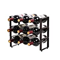 金属製ワインラック、カウンタートップワインキャビネットカウンターワインラックホルダー、シャンパン用収納スタッカブルスペースセーバーワインラック(6サイズ)ブラック,A