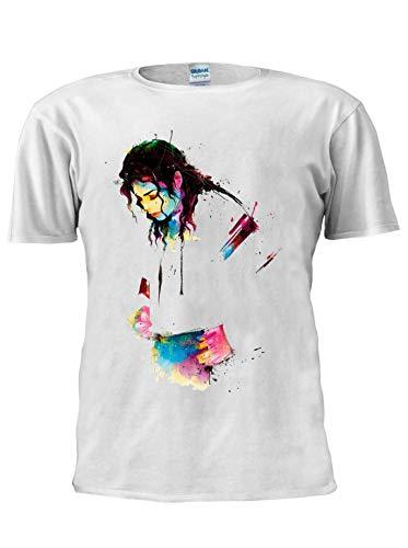 Michael Jackson T-Shirt Jackson Dance Legend Star Tee Unisex Trendy Herren T-Shirt Gr. S, weiß