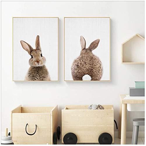 """HSFFBHFBH Cuadro en Lienzo Conejo Conejo Cola Vivero Arte de la Pared Animal Poster e Imprimir Imagen nórdica para la habitación del bebé Decoración para el hogar 40x60cm (15.7""""x23.6) Sin Marco"""