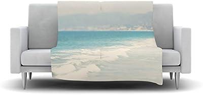 Kess InHouse Laura Evans Waves Blue Gray Fleece Throw Blanket, 80 by 60