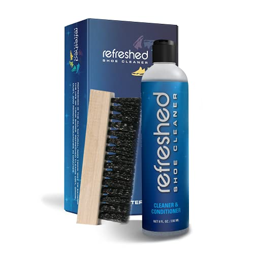 Refreshed Shoe Cleaner & Conditioner | 1x Cleaning Solution, 1x Brush - Easily Clean Suede, Leather,...