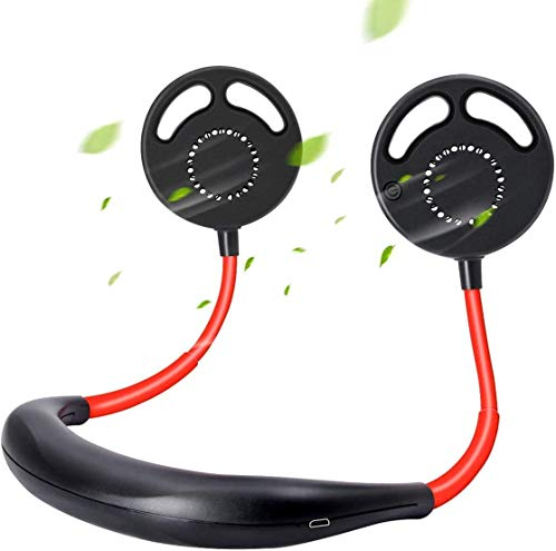 Pulchram Ventilador de Cuello Colgante, Banda de Cuello Portátil Ventiladores Deportivos Ventilador Usable Recargable USB 2000mAH, 3 Velocidades para Viajes de Oficina al Aire Libre (Rojo)