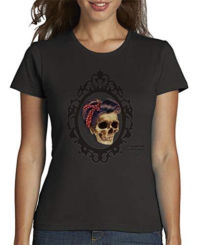 latostadora - Camiseta Pin Up Skull para Mujer Gris Oscuro XXL