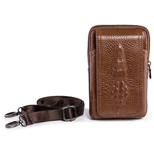 hengwin Herren Mini Schultertaschen Leder Kleine Handy Tasche iPhone X/XS 6 7 8 Plus Gürteltasche Tasche Holster Samsung Galaxy S8 S9 Plus Gürtelclip Handyhalter für Reisen Arbeit (Braun)