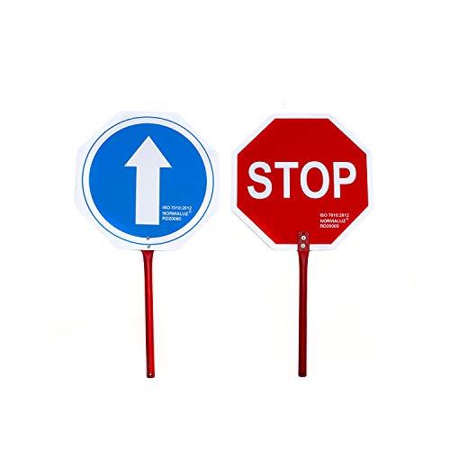 NORMALUZ RD20060 RD20060-Paleta De Stop Metalico Lacado Adhesivo de Vinilo 25 cm Mango x30 cm Diametro, Rojo/Azul