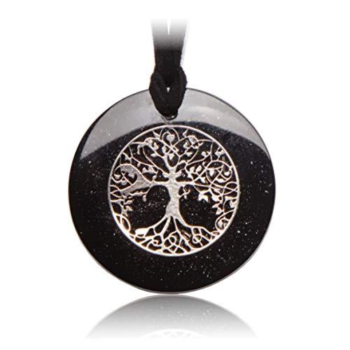 Orgonit-Anhänger Silber & Schungit mit Lebensbaum-Symbol