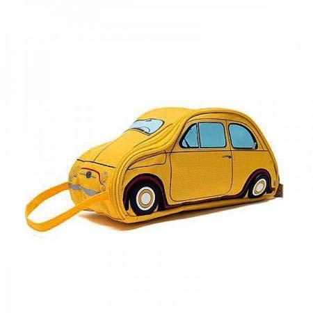 Trousse de Toilette - Maquillage Voiture Fiat 500 Licence Officielle - 3 Coloris - Maxidiscount (Jaune)