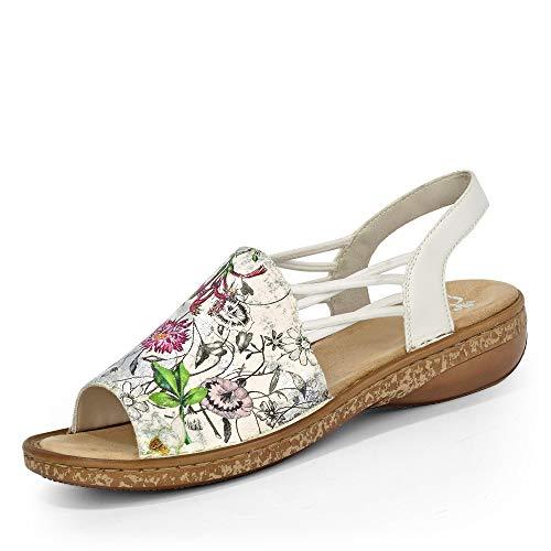 Rieker 628D1 Femme Sandale à lanières,Sandales à lanières,Chaussures d'été,Confortable,Plat,ice-multi/weiss/90,36 EU / 3.5 UK