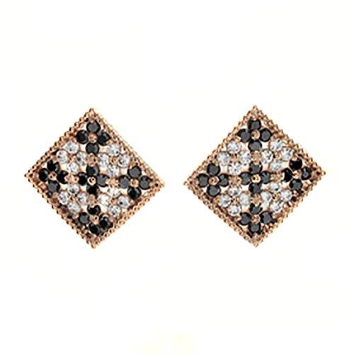 [リュイール] ブラックダイヤモンド ダイヤ ダイヤモンド ダイヤ ピンクゴールド K18 パヴェ フラワー スタ...